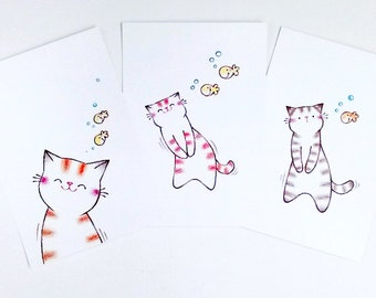 Cat Postcard Set, Postcard, Affordable Art, Printed Card, Art Card, Cat Lover Gift  - from original illustration