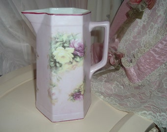 water pitcher lilac with roses