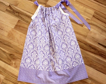 Purple Petite Paris Pillowcase Dress - girls dress, purple, white, ribbon, damask, hearts