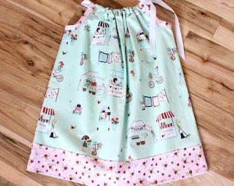 Vintage Market Pillowcase Dress - girls dress, vintage, market, strawberry, green, pink