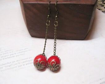Red Coral Earrings Gemstone Earrings Vintage Earrings Beaded Jewelry Dangle Earrings Romantic Earrings Red Coral Charm Red Coral Jewelry