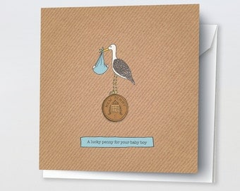 Lucky Penny For Your Baby Boy Card