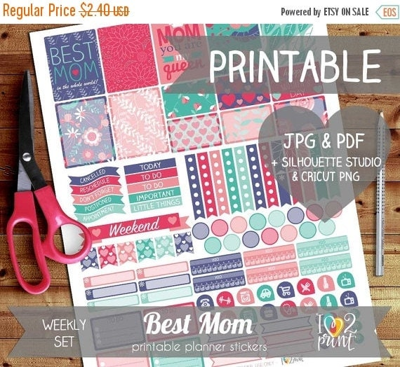 50 sale best mom printable planner stickers erin by ilove2print. Black Bedroom Furniture Sets. Home Design Ideas
