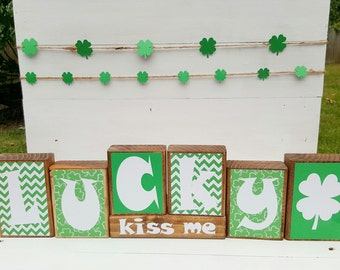 St. Patrick's Day Decor - St. Patrick's Day Wooden Blocks - Wooden Blocks - Living Room Decor - St. Patrick's Day Party