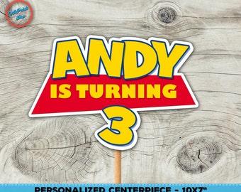 Toy Story centerpiece, Toy Story cake centerpiece, Tory Story sign! Personalzied Toy Story centerpieces.