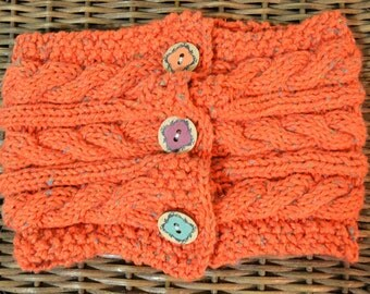 Knit Cabled Cowl w/ Wood Buttons- orange tweed