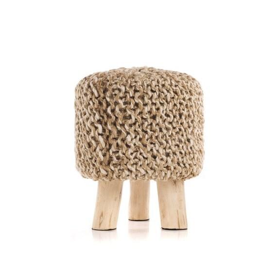 Pouf Ottoman, Knitted Pouf, Round Pouf, Crochet Pouf, 100 Percent ...