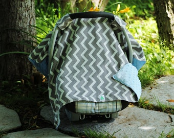 Grey Chevron Car Seat Canopy Cover, Baby Shower Gift, New Mom Gift