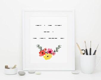 Leave Me Alone, Morse Code Print, Digital Download