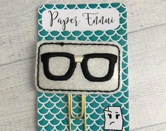 Nerdy Glasses Glitter Vinyl Planner Clip Paper Clip
