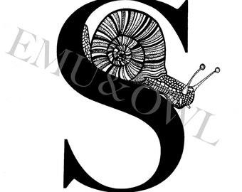 S for Snail - Alphabet Print - Black & White