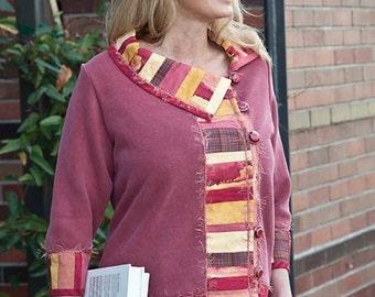 Sweatshirt Quilted Ladies Jacket, Woman's Handmade Knit Jacket