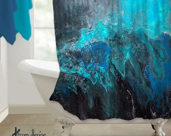 black and turquoise shower curtain. Abstract Shower curtain  Teal Turquoise blue black Home decor Designer bath Beautiful Blue Marble Curtain teal aqua green paint