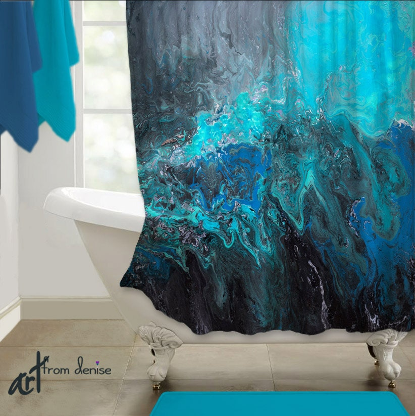 Abstract Shower Curtain Teal Turquoise Blue Black Home Decor