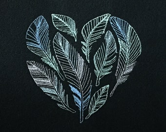 Glow in the Dark Feather Heart