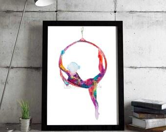 The hoop lady-Hoop yoga/Lyra - Fine Art Giclee Print watercolor painting - Lyra gift