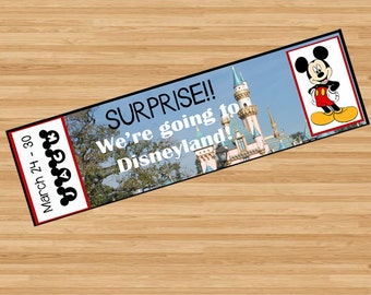 Printable Ticket to Disneyland Disney World with Custom Name Dates Personalize Surprise Mickey Mouse DIY Digital File Kids Child Disney pdf