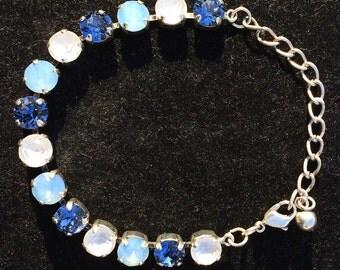 Swarovski Crystal Bracelet, Blue Crystal Bracelet, Blue Jewelry, Blue Bracelet