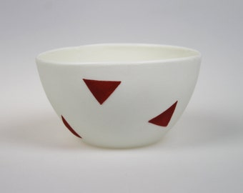 Geo Bowl - White Porcelain with Red Triangles