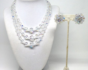 Gorgeous Triple Strand AB Crystal Pattern Vintage Estate Necklace and Earrings Set
