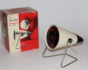 Vintage Philips Infraphil infrared lamp 1969 with box retro Charlotte Periand design