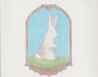 Handpainted needlepoint canvas Easter Bunny Rabbit Portrait