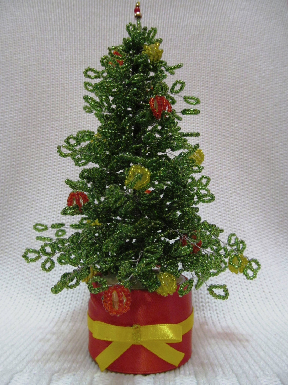 Glass christmas tree with ornaments miniature -  34 20