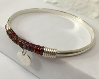Sterling Silver Bangle with Multi Colour Thread Wrap and Charm
