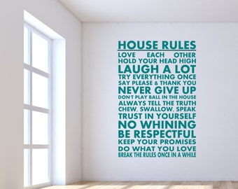House Rules Vinyl Wall Decal Sticker for your home