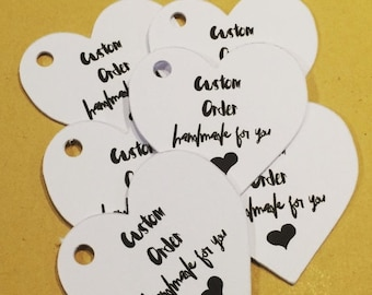 Mini heart tags- 35 heart hang tags for custom made orders