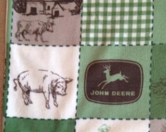 John Deere Tractor  X- LARGE Fleece Blanket, quilt print