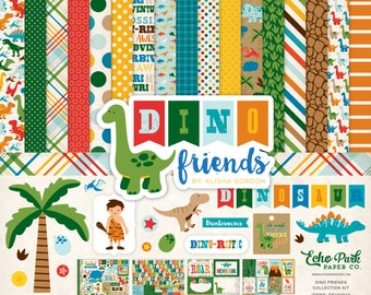 """Echo Park Paper Dino Friends Collection 12"""" x 12"""" Scrapbook Paper and Sticker Kit"""