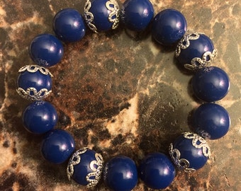 Blue Beads Silver Flower
