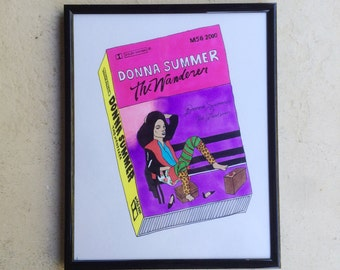 DONNA SUMMER original framed illustration