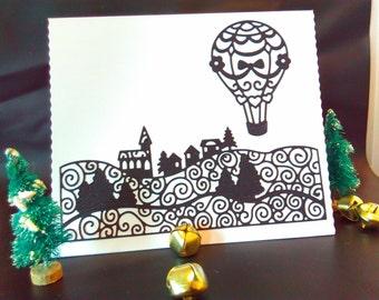 Monochrome Handmade Christmas card, Christmas, blank Christmas card, steampunk Christmas card, Christmas card, paper cut Christmas card