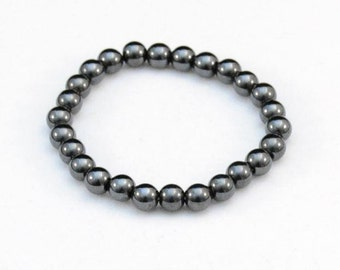Vintage Black Stone Magnetic Bead Bracelet    J320