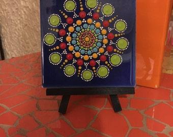 Desktop Art. Tile hand painted unique. Combinación armónica de colores.