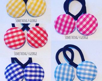 Checked fabric button hair ties