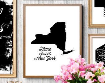 Printable Art NEW YORK state print NYC art print New York state prints sweet home New York printable New York home decor art