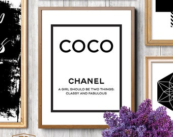 Coco Chanel print Chanel printable art Chanel quotes Chanel quote Chanel prints A Girl Should Be Two Things Classy and Fabulous