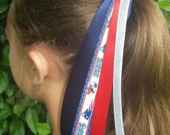 Team Colors Ribbon Ponytail Holder Made w/ New England Patriots Grosgrain Ribbon
