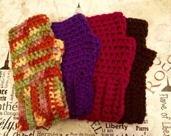 Crocheted Adult Size Fingerless Gloves