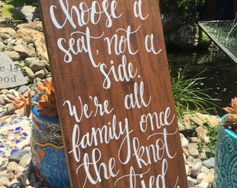 Custom Wood Wedding Sign, Choose a seat Sign, Wedding Sign, Custom Seating Sign, Rustic Wedding Sign