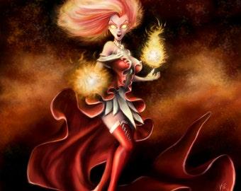 Original Fantasy Art Print Eva Emberstar Fire Mage