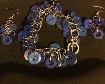 Blue Button Bracelet and Earrings Set   C1