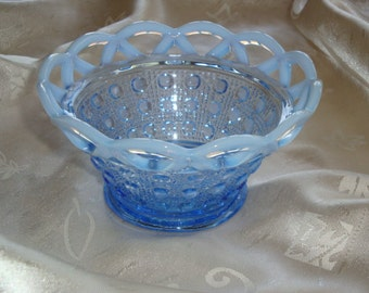 Imperial Glass Co. Katy Blue Opalescent Laced Edge Bowl