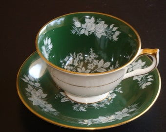 Aynsley England Rose Pattern on Forest Green Cup and Saucer