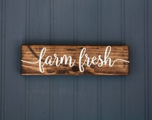 "Farm Fresh Sign - Rustic Wood Sign  - Kitchen Decor - French Country - Farmhouse Style - 9"" x 2.5"""