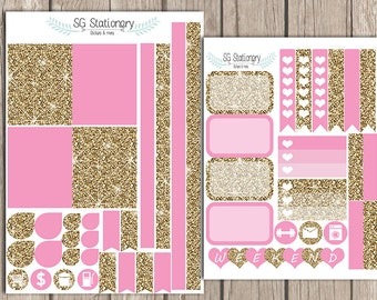 pink and Gold Planner Stickers,  for use  with  Erin Condren Planner, Functional Stickers, ECLP, pink and gold, ombre, glitter look