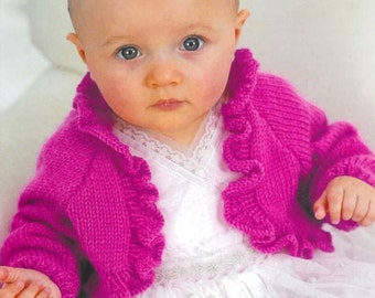 "PDF Knitting Pattern for a Baby/ Girls Ruffled Bolero Shrug - To Fit 16"" to 26"" - Instant Download"